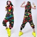 Niños Adultos Hip Hop Danza rendimiento playsuit monos sueltos Pantalones de una sola pieza del harem de Camuflaje sin mangas Con Capucha del mono