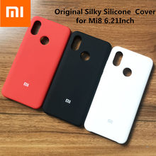 100% original Xiaomi Mi 8 Silky Soft-Touch Finish cover Back Liquid Silicone Protective Cover 6.21Inch MI8 with logo(China)