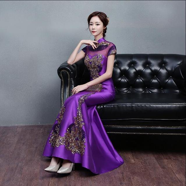 631170bfb1 Purple halter long dress 2018 fashion cheongsam dress modern women s dress  qipao wedding party dress