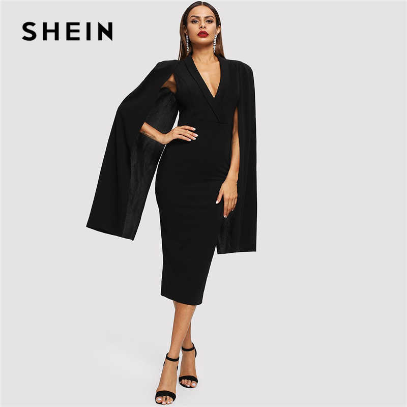 SHEIN Black Cape Sleeve Deep V Neck Shawl Surplice Collar Split Hem Pencil Bodycon Maxi Dress Women Spring Elegant Party Dresses