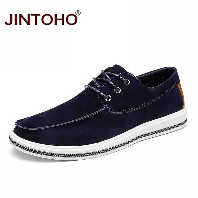 JINTOHO 2018 Men Flats Luxury Brand Men Casual Shoes Designer Man Genuine