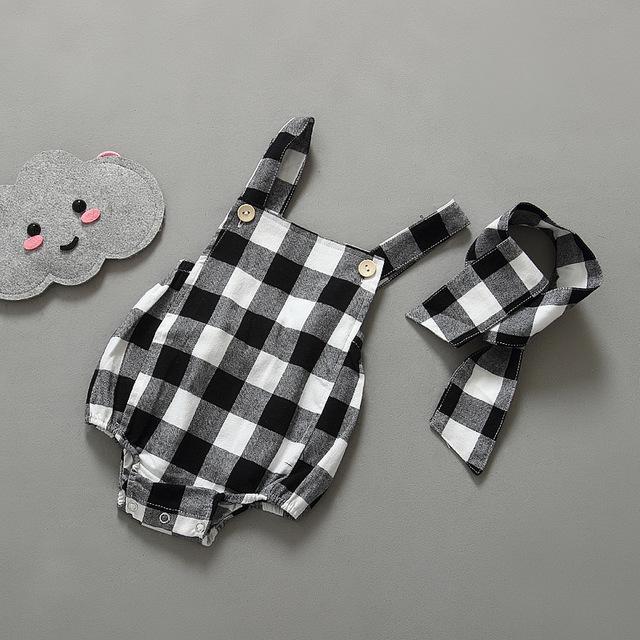 Verão roupas de bebê recém-nascido de algodão xadrez sem mangas macacão de bebê meninas roupa Infantil trajes bebê meninas macacão