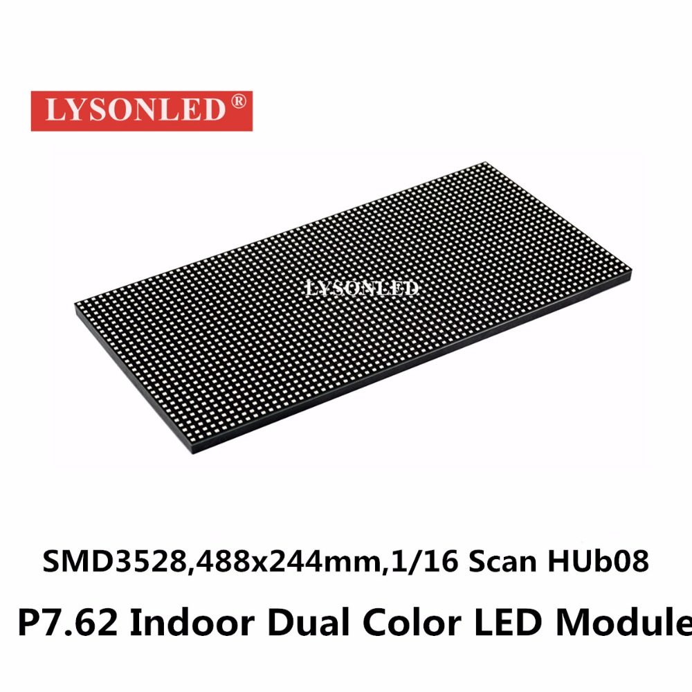 LYSONLED 2017 Animation Hot Sale F5/P7.62 Double Color 64*32 Pixels Indoor Smd Led Display Module, P7.62mm Rg Module 488x244mm
