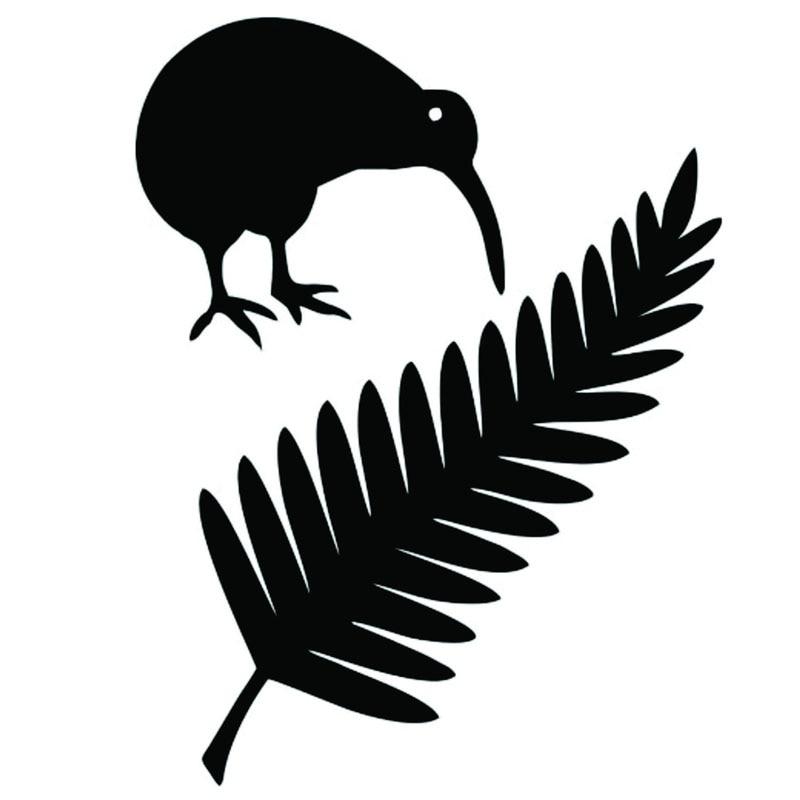 Виниловые автомобильные наклейки 11,4*15 см, киви, птица и папоротник Новой Зеландии, креативные Стильные наклейки для автомобиля, черный/сере...