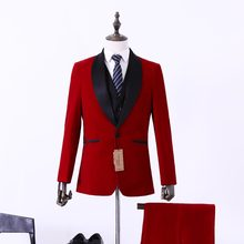 S21 New Arrival ternos hombre Red Tailcoat Men Suit Set Slim Wedding Suits Mens Groom Tuxedos( jacket+Pants+vest) Custom size(China)