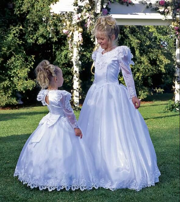 White Flower Girl Dresses For Weddings A Line Floor Length Pageant Prom Dress Bubble Long Sleeves With Bow Custom Made vintage bow waist bubble dress