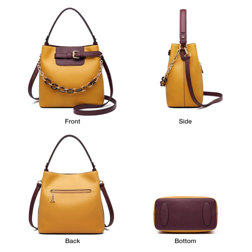 Foxer 브랜드 여성 패션 메신저 가방 여성 새로운 디자인 양동이 가방 가죽 대용량 핸드백 발렌타인 데이 선물-에서숄더 백부터 수화물 & 가방 의  그룹 3
