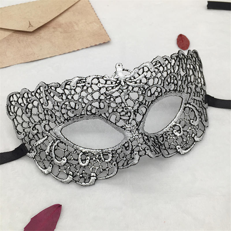Серебряная горячая штамповка Дамская Сексуальная Маскарадная маска из кружева для карнавала, Хэллоуина, выпускного вечера, Вечерние Маски, маска для глаз#35 - Цвет: PM022TS