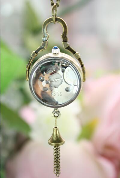 Style antique boule de cristal montre de poche collier collier Steampunk bijoux pendentifs chaîne cadran 2.7 cm pas cher en gros PB398