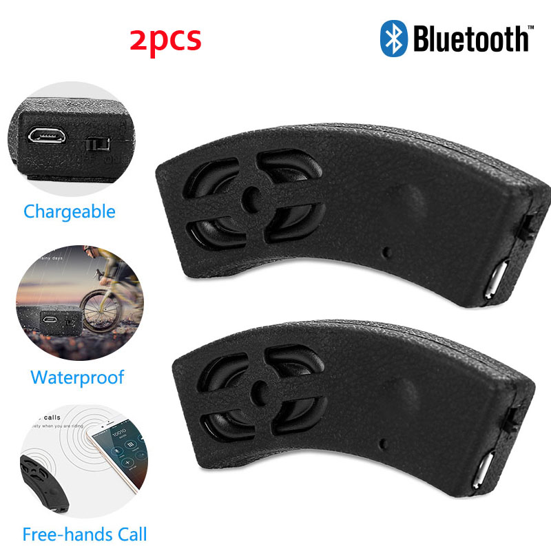 2PCS Bluetooth Motorcycle Speaker Bicycle Motorbike Helmet Wireless Outdoor Riding Stereo Waterproof Boombox Mini Subwoofer
