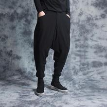 Персонализированные модные обтягивающие штаны-шаровары, мужские повседневные свободные штаны, мужские широкие штаны 219, осенние зимние мужские штаны черного цвета