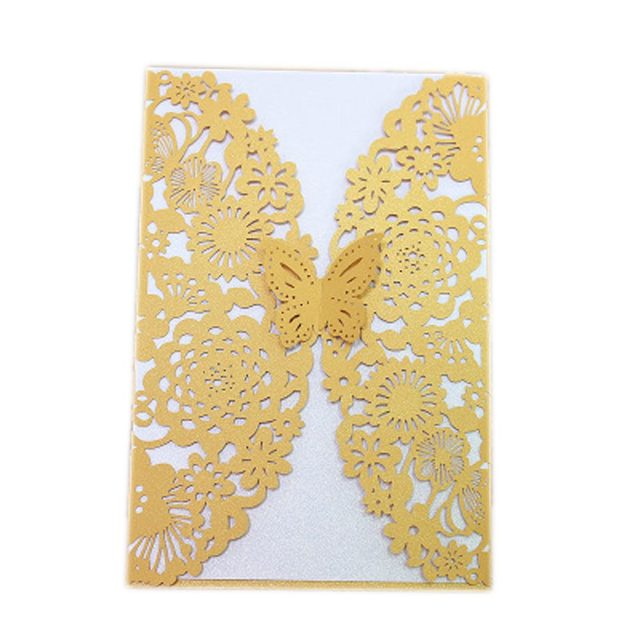 2017 Romantic Wedding Business Party Birthday Invitation Cards Card Envelope Butterfly Pattern