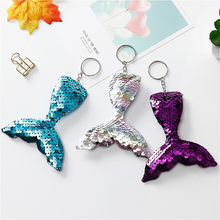 1 Pcs Plush KeyChain Keyring New Hot-selling Double-sided Reflective Sequins Key Button Creative Fish Tail Key Ring(China)