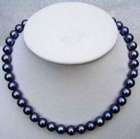 BEAUTIFUL AAA 8 9mm south sea black pearl necklace 24 inches