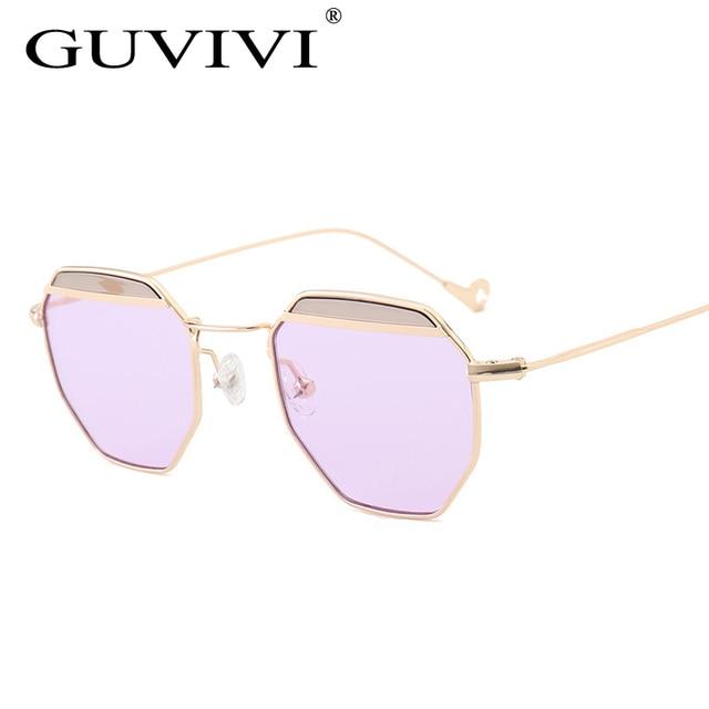 3a709aeb294c Blue Pink Purple tinted Ocean Sunglasses women 2017 small Lens Polygon  Brand Designer Vintage Sun glasses