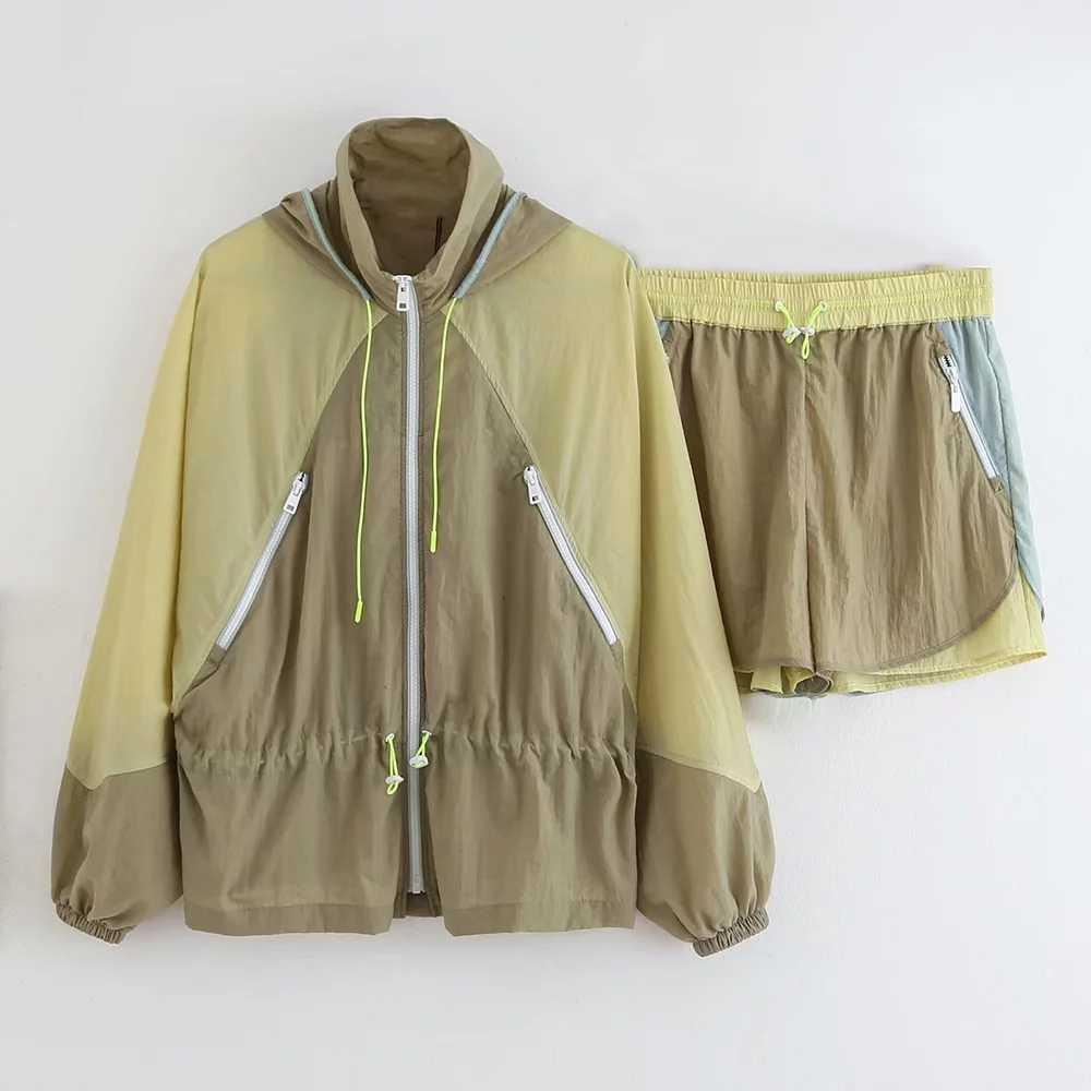 Nowy patchwork spodenki damskie elastyczna wysoka talia nylon lato spodenki w streetwear mody vintage, na co dzień krótkie spodnie 2019