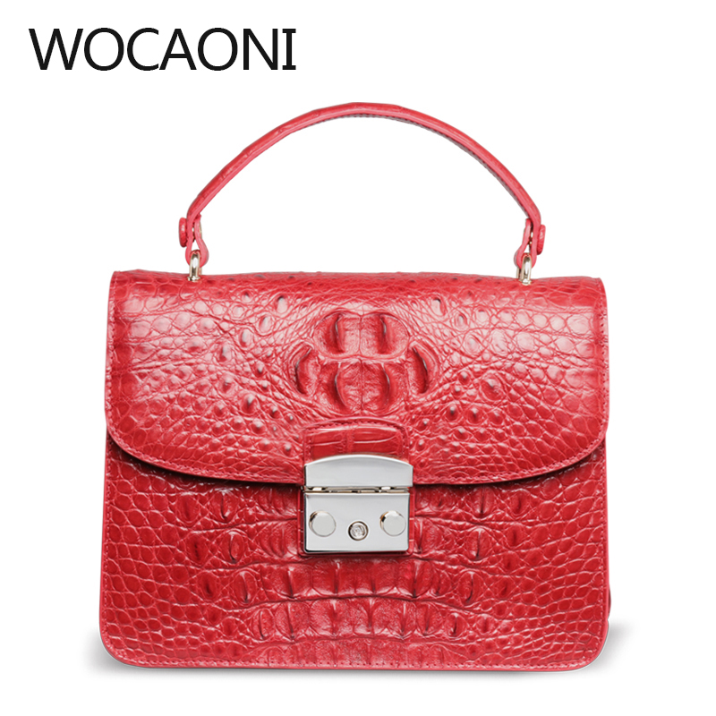 wocaoni 2018 new crocodile Handbag Satchel Thailand leather handbag shoulder bag women bag small crocodile bag gold woman evening bag women diamond rhinestone clutch crystal chain shoulder small purse gold wedding purse party evening bags page 4