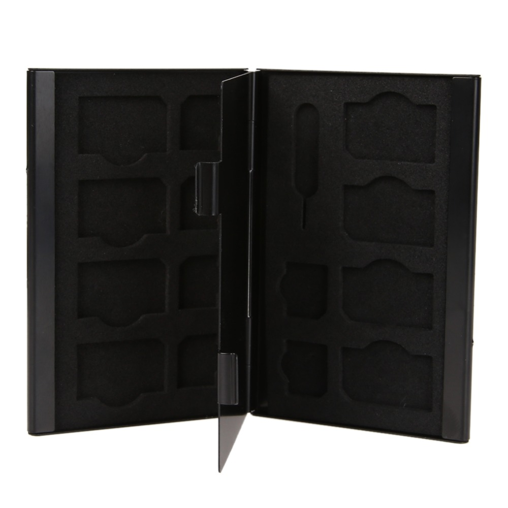 15 In 1 Aluminum Memory Card Storage Case Box Holder For SIM Card/Micro-SIM Card/Needle Anti-magnetic Protector Black