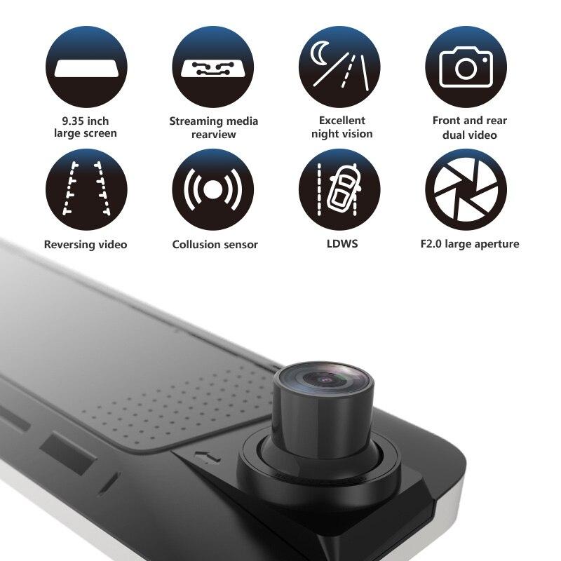 JADO D230 Flux rétroviseur Dvr dash Caméra avtorégistrateur 10 IPS écran tactile Full HD 1080 P Dvr de voiture dash cam vision nocturne - 2