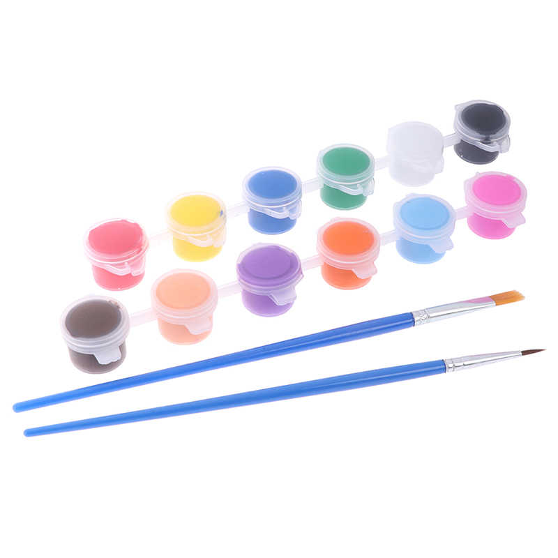 12 kleuren Stof Hand Geschilderde Muur Gips Schilderij Tekening Voor Kids Acryl Verf WaterBrush Pigment Set voor Kleding Textiel