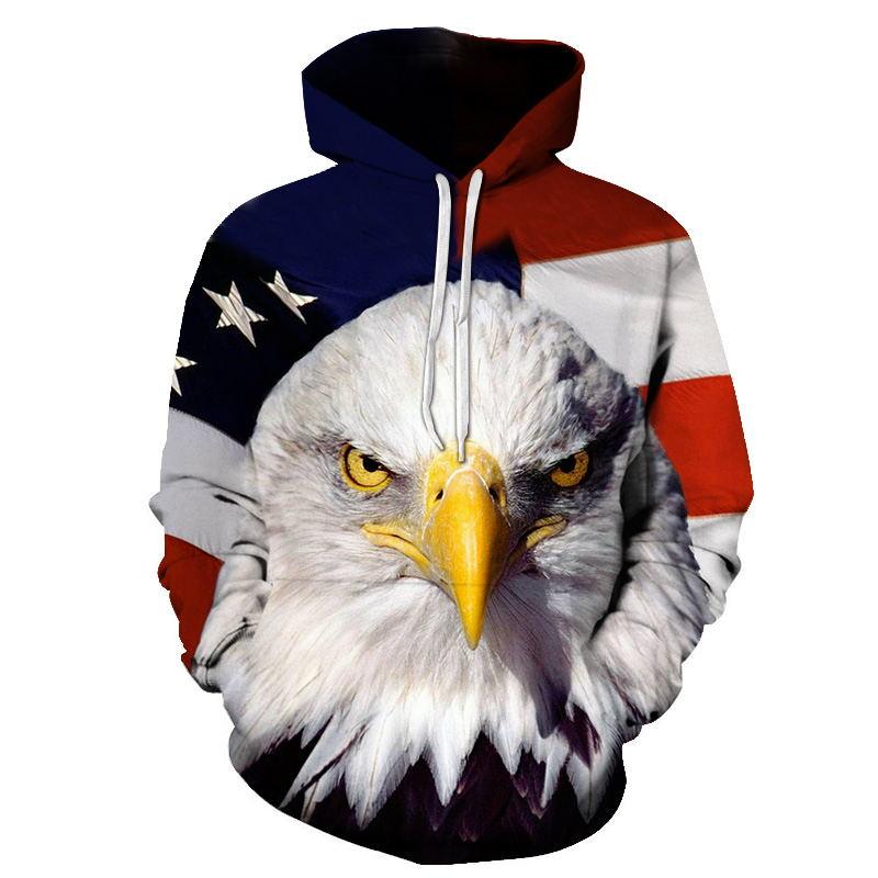Men's Clothing Devin Du 2018 New Hoodies Man New Year Fireworks American Flag Eagle Hoodie Casual Hooded Sweatshirt Pullover Drop Ship