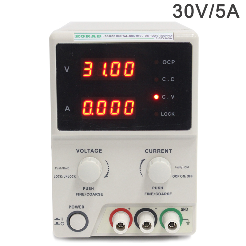 Adjustable encoder knob power supply,30V 5A mA voltage current 4 display,DC linear single-channel digital regulated power supply four digit display rps3003c 2 adjustable dc power supply 30v 3a linear power supply repair