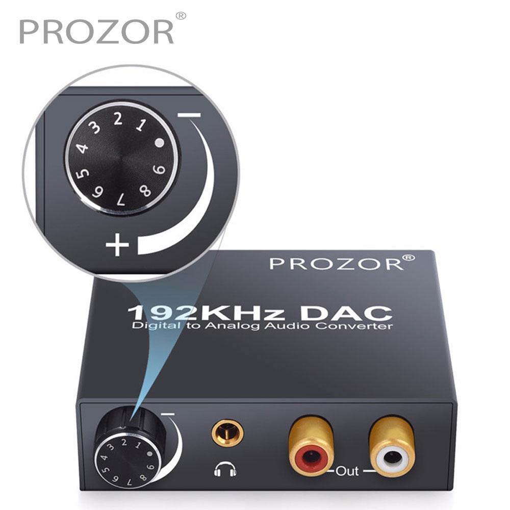 Proster DAC Audio Converter RCA 3.5mm Output with Volume Control L/R Converter Decoder Toslink to Analog For Home Theater DVD