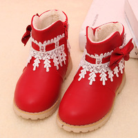 Kids Winter Fashion Girls Snow Boots Shoes Warm Plush Baby Girls Boots Children Leather Winter Bowknot