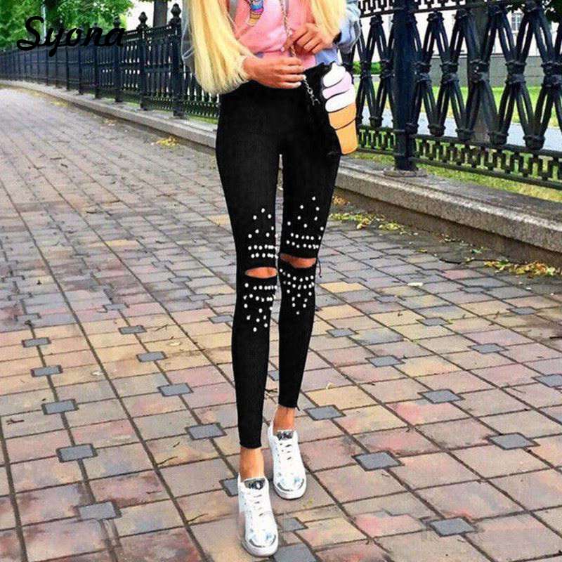 Woman Pearls Trousers Stretch Pencil   PANTS     Capri   Straight High Waist Ladies Casual Holes Destroyed Knee Ripped Tight Pantacourt