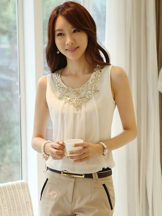 Para Mulheres Coletes Summer Fashion Ladies Casual Sleeveless Chiffon Shirt Vest Plus Size Clothing Tops Blouses
