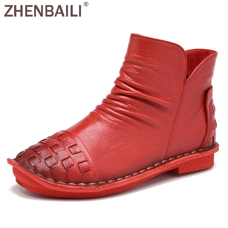 ZHENBAILI Genuine Leather Ankle Boots 2017 Autumn Fashion Woven Pleated Zipper Women Short Boots Soft High Top Flat Casual Shoes large size 34 40 2016 fall women ankle boots cowhide soft leather flower genuine leather women short boots flat with shoes lady