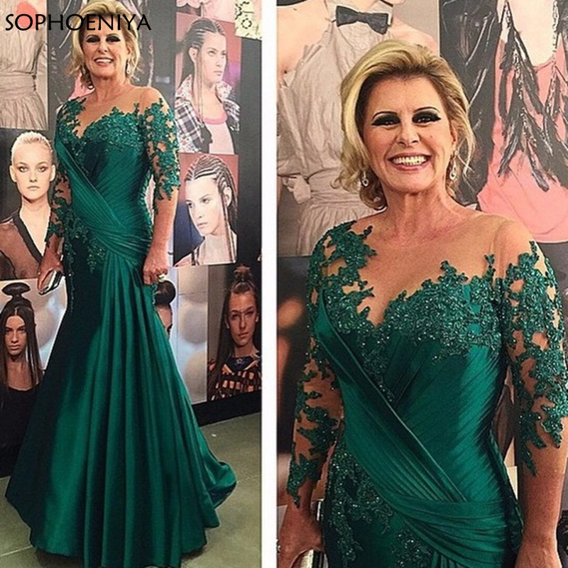 New Arrival Green Long sleeve   evening     dresses   2019 Lace Beaded Mermaid   dress   Party   Evening   gowns Robe de soiree abiye gown