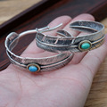 Bracelets & Bangles 925 Sterling Silver Feathers Bangles With Turquoise Natural Stone Opening For Women And Men Vintage Jewlery