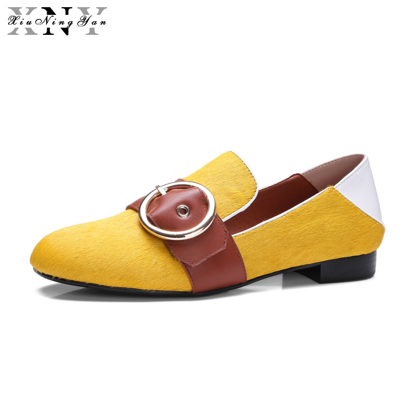 XiuNingYan 2018 Women Flats Oxfords Genuine Leather Loafers Shoes Slip-on Handmade Woman Horsehair Yellow Green Casual Shoes