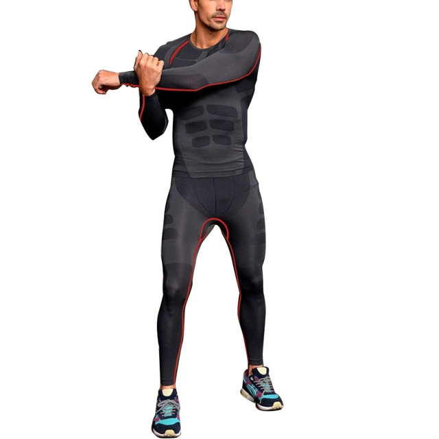 87b3765cd Men Yoga Tight Pants Sports Compression Wear Under Base Layer Athletic Skin  Long Fitness Tights Pants Leggings Sport Men Yoga