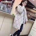 Mulheres jaqueta de inverno casacos das mulheres novas clothing rhombic plaid abrigos parkas para as mulheres casual longo algodão acolchoado jacke tg065