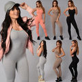 New Womens Casual Sleeveless Bodycon Strech Slim Romper Jumpsuit