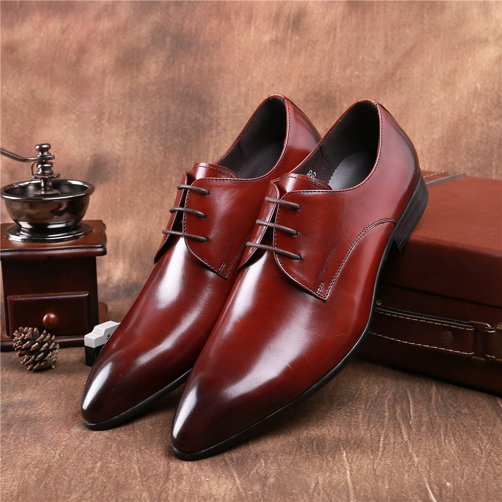 Fashion pointed toe Brown tan / black business shoes mens dress shoes genuine leather formal mens wedding shoes top quality crocodile grain black oxfords mens dress shoes genuine leather business shoes mens formal wedding shoes