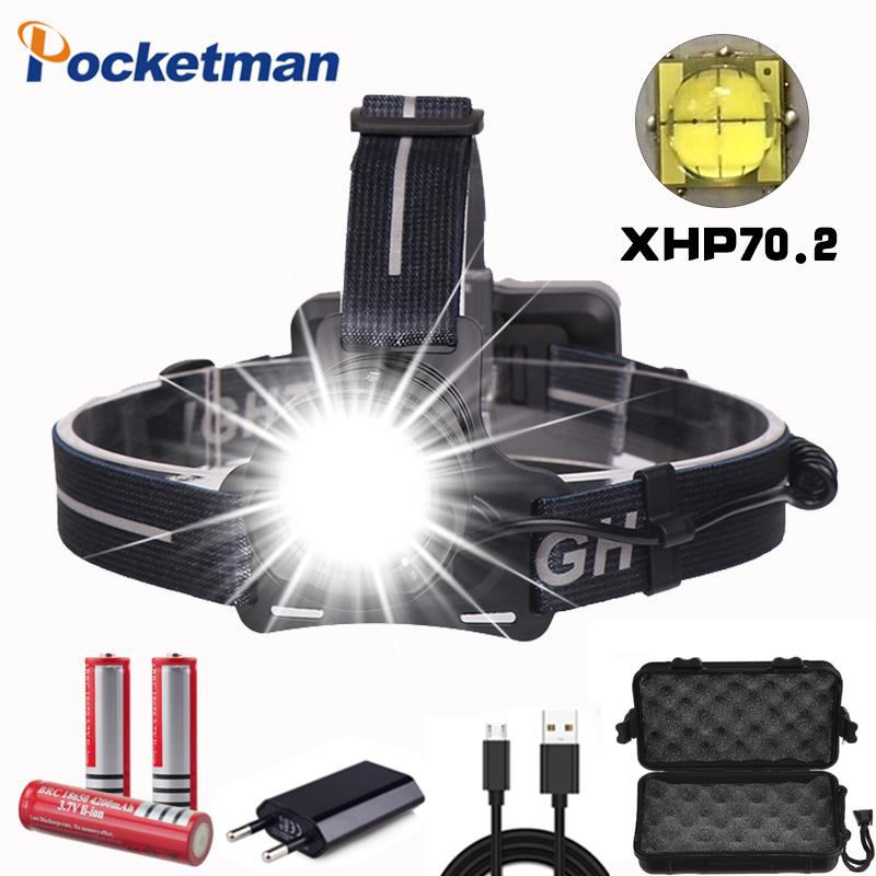 50000lm Xhp70.2 Headlight Super Bright Led Headlamp Usb Rechargeable Head Torch Xhp70 Lantern 3*18650 Battery Fishing Camping