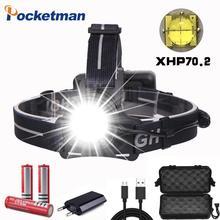 Lampe frontale puissante XHP70.2, lampe frontale Led très brillante Rechargeable par USB, lanterne 3x18650 piles pour la pêche et le Camping