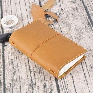 Image 5 - 100% echtem Leder Notebook Planer Handgemachte Journal Öl Wachs Leder Agenda Sketch Persönliche Tagebuch Schule Schreibwaren