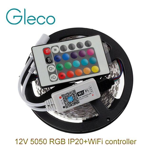 DC12V 5050 RGB LED Strip Set 60LED/m 5M LED Strip 5050 RGB LED tape + Mini 24Key WiFi RGB LED Controller