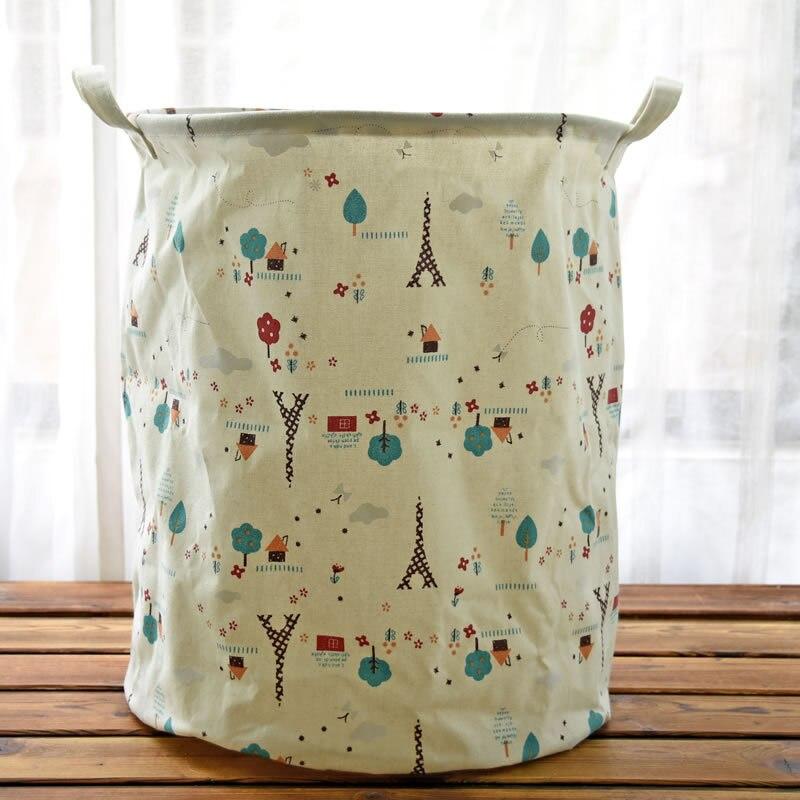 Drawstring Laundry Basket Cotton Linen Dirty Clothes Barrel Laundry Hamper Storage Baskets Folding Sundries Bag Handbags For Toy