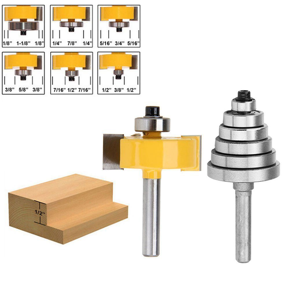 Hot Sale Shank Rabbeting Router Bit with 6 Bearings Set for Multiple Depths 1/8 inch, 1/4 inch, 5/16 inch, 3/8 inch 2 pc 1 4 shank 1 2 3 8 rabbeting