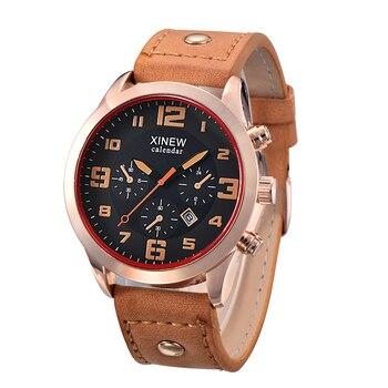 Mens Watches Fashion Leather Date Big Rose Gold Watch Men Business Gifts Vintage Watch Erkek Saat montre reloj relogio masculino