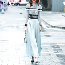 цены Delocah Autumn Women Dress Runway Fashion Designer Long Sleeve Gorgeous Draped Splice Modern Casual Slim Long Dresses Lady