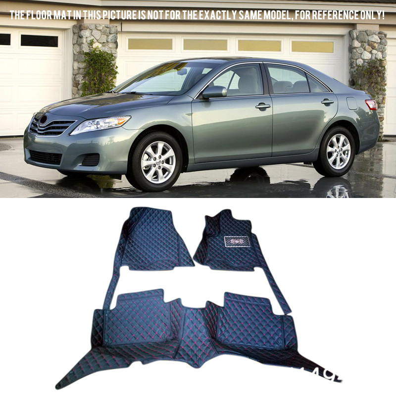 For TOYOTA Camry XV40 2007 2008 2009 2010 2011 Interior Leather Custom Car Styling Auto Front & Rear Floor Mats Carpets auto floor mats for honda cr v crv 2007 2011 foot carpets step mat high quality brand new embroidery leather mats