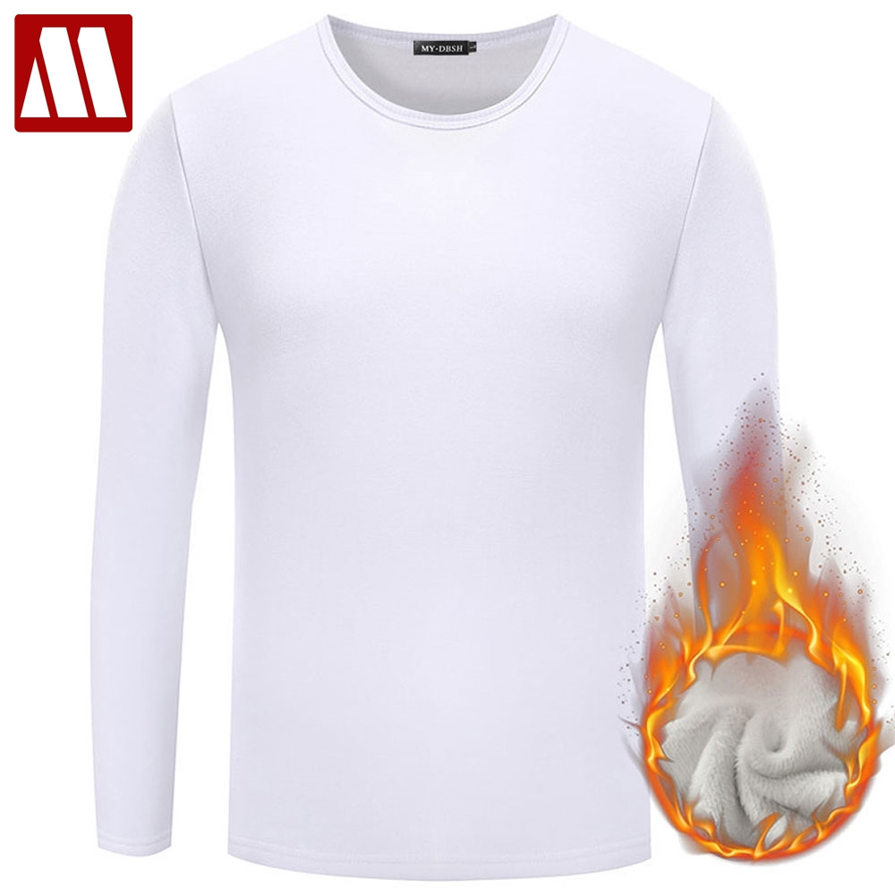 Men Casual Cotton T Shirt 2019 Fashion Slim Fit Thermal Underwear Long Sleeve Solid T-Shirts Mens Winter Fleece T-shirt Male Tee