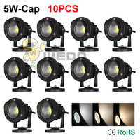 10PCS 5W-Cap With Base Black Shell LED COB Landscape Light Outdoor Lawn Spot Lamp Cool White/Natural White/Warm White 85-265V