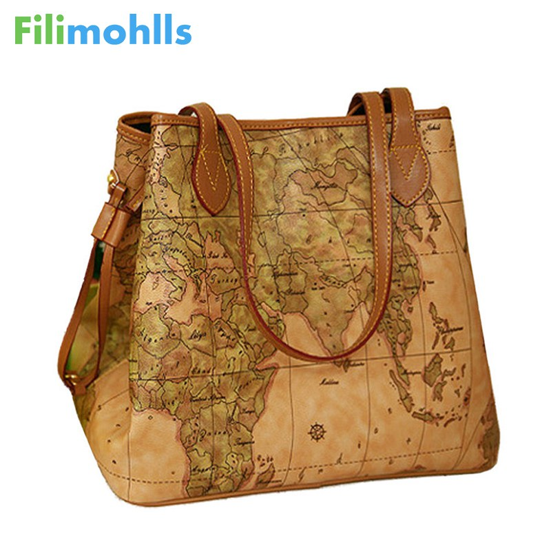 New Famous Brand Women Handbags Bolsas Women's Shoulder Bag Women Pu Leather Handbags Vintage Printing Map Bag Ladies S16-86